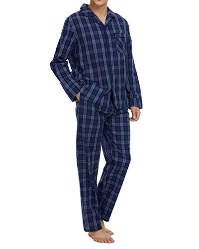 Schlafanzug Herren Lang 100% Baumwolle Pyjama Set Herren Nachtwäsche mit Knöpfen Klassische Karierte Lougewear, Blau_3, Large