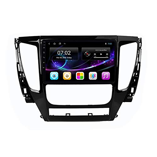 Double Din Car Stereo GPS Navigation Head Unit with Bluetooth FM Radio Built-In Wifi Module Support Android/1080P/Carplay/4G/SWC, for Mitsubishi Pajero Sport 3 2016-2018,Quad core,WIFI 1+32