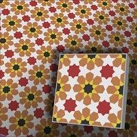 Zementfliese Florina orange rot - Handarbeit - Vintage Jugendstil Fliese für Altbau Neubau