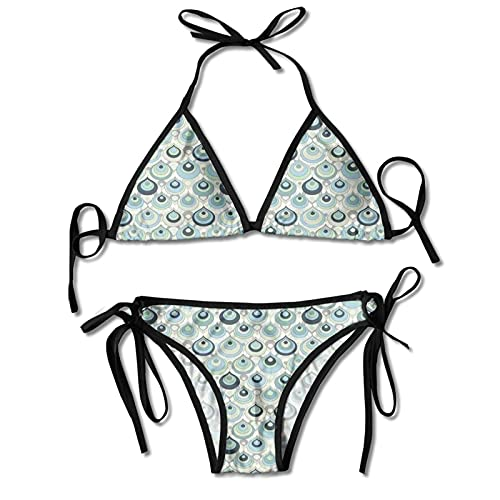 Ladie's Halter Swimwear Printed Two Piece Bikini Sets Sexy Swimsuit,Teardrop Pattern with with Pastel Tones Abstract Illustration