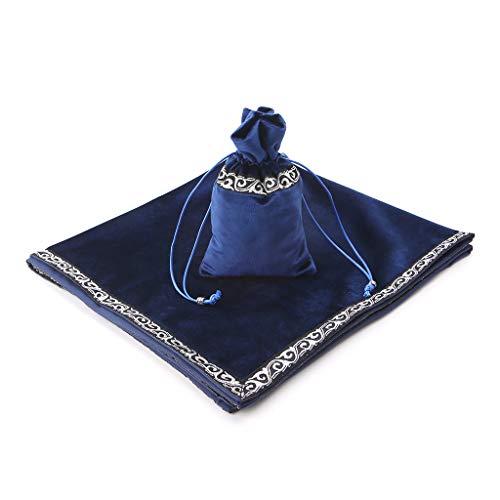 MM456 Tarot-Tischdecke, Samt, Tarot-Tischdecke, Altar-Tischdecke mit Kordelzug, 65 x 65 cm, Blau