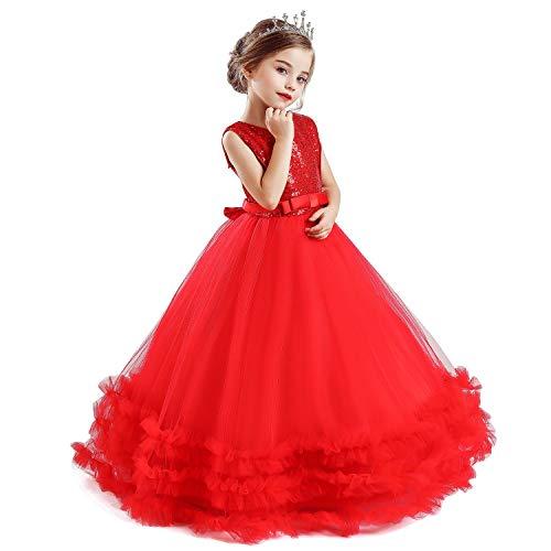 TTYAOVO Mädchen Prinzessin Pageant Kleid Kinder Prom Ballkleider Pailletten Hochzeit Blume Flauschige Kleider Größe (150) 10-11 Jahre 705 Rot