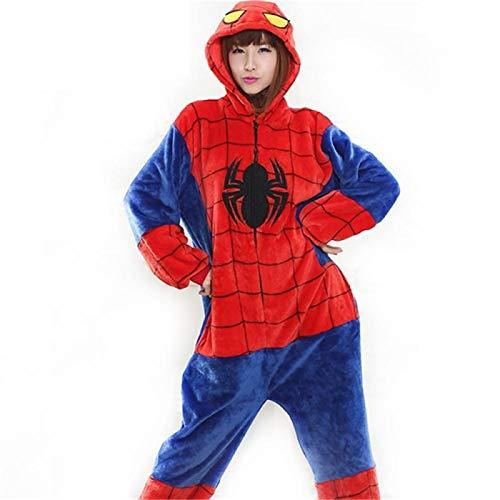 Tigre Onesie Chaussons Femmes Hommes Adulte Animal Cartoon Brown Pyjama Party Funny Festival Fantaisie Costume Bouton Fermeture Éclair dans L'ensemble Hyococ (Color : Spiderman, Size : S)