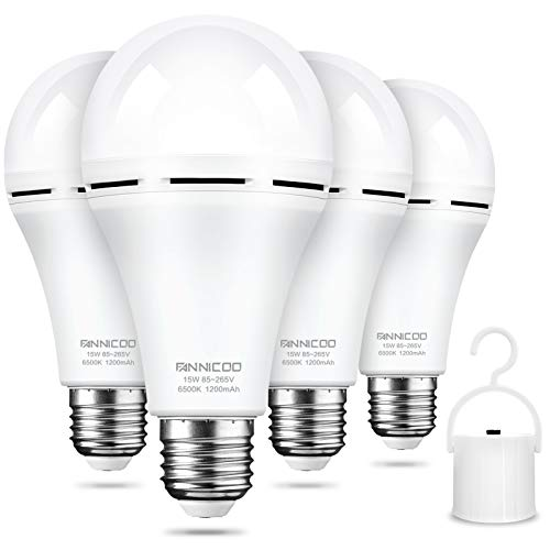 Rechargeable Emergency Light Bulb Daylight 6500K Battery Backup for Power Outage Failure 15W 80W Equivalent 1200mAh with Hook E26/27 Base LED Light Bulbs Widely Used in Home Camp Hiking (4 Pack)