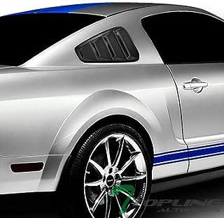 Topline Autopart Black Retro Sport Rear 1/4 Quarter Side Vent Window Louvers V1 For 05-14 Ford Mustang