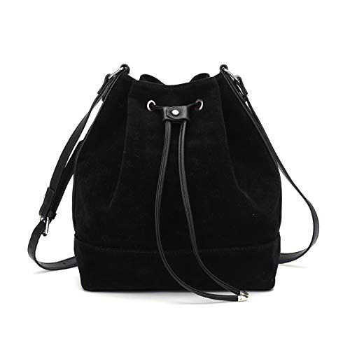 AFKOMST Drawstring Bucket Bag for Women Large Crossbody Purse and Shoulder Bag Suede Tote Handbags Black