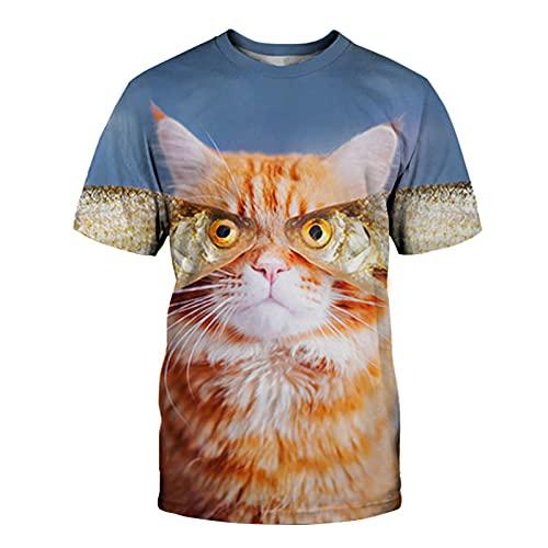 XDJSD Camiseta para Hombre Camiseta Corta De Manga Corta Camiseta De Gran Tamaño Camiseta Camiseta para Hombre Camiseta con Estampado De Gato Camiseta De Manga Corta para Hombre Top