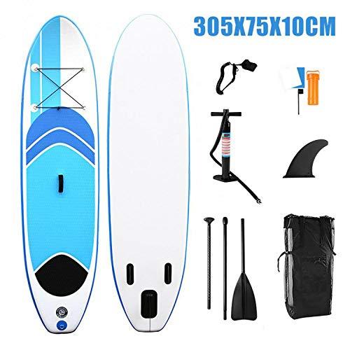 YOUSIS Aufblasbares Stand Up Paddle Board, 3 m SUP aufblasbares Paddelbrett, Paddel, Pumpe, Sicherheitsgurt, Flosse und Tragetasche, 136 kg