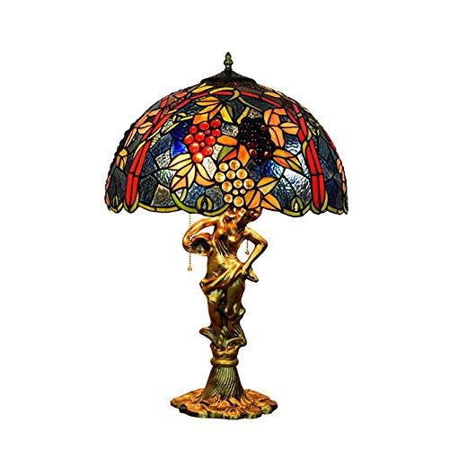 MGWA Lámpara de Mesa 43 Cm Retro Creativo Vitral Sala De Estar Comedor Dormitorio Mesita De Noche Lámpara Azul UVA Lámpara