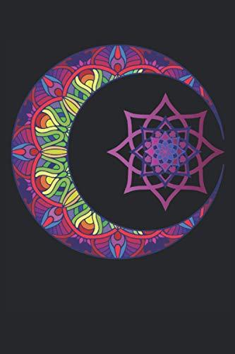 Computadora portátil: Mandala Notebook - Gran cuaderno de Mandala Half Moon - 120 páginas alineadas para pensar pensamientos, ideas e impresiones ... Más que una tarjeta de cumpleaños.