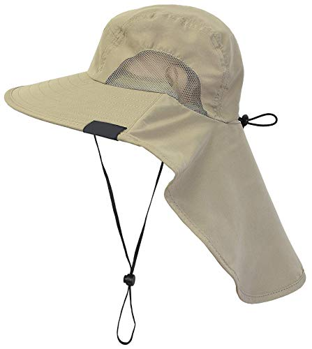 Outdoor Hat With Neck Flap Wide Brim