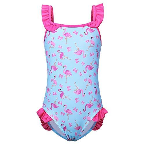 ZNYUNE Mädchen Kinder Badeanzüge Badeanzug UV Schutz 50+ Sonnenschutz Bademode Schwimmanzug Badebekleidung Strandkleid Tankini 2 8 Jahre (Flamingo Blau, 152/158 (9-10 Jahre))