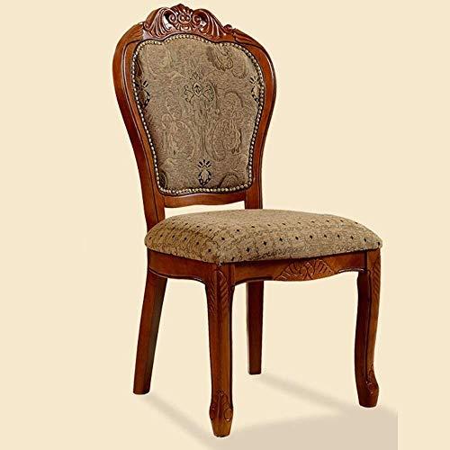 DXX-HR Sillas de Comedor Familia Hotel Continental Tallada negociaciones Madera Pasamanos Casual Dining Chair es fácil de Montar for 2 Restaurante Salón (Color: Marrón, Tamaño: 106x50x52cm)