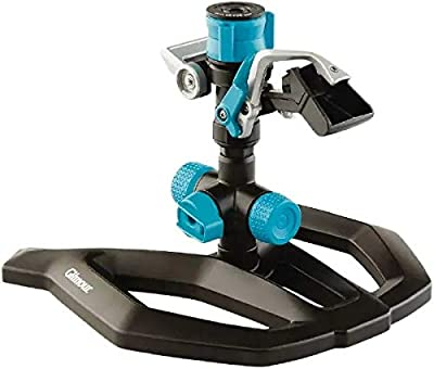 Gilmour Circular Sprinkler w/Base-Adjustable (5,800 sq. ft.), Heavy Duty, Black/Aqua
