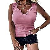 Camiseta Sin Mangas Mujer Verano Exquisito Diseño De Escote Color Sólido Apretado Sexy Mujer Camisa Casual Personalidad De Moda Simplicidad Juguetona Mujer Tops Sin Mangas E-Pink XXL