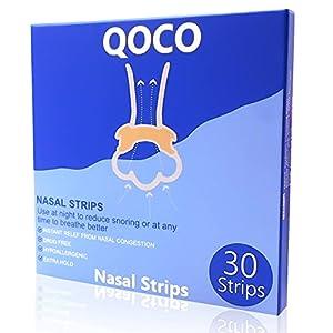 QOCO Tiras Nasales, 30 PCS Dilatador Nasal, Tiras Nasales Breathe Right Para Dejar De Roncar, Antironquidos Rhinomer, Tiras Nasales Antironquidos Eficaces, Solucion Para No Roncar Para Breathe Right