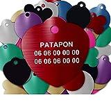 Médaille pour Chien Et Chat À Personnaliser – Médaillon Gravé 31 mm - 1 à 3 Lignes – 8 Couleurs Disponibles (Rouge, Coeur)