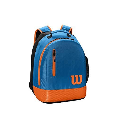 Wilson Mochila juvenil de tenis, 2 compartimentos con cremallera, Hasta 2 raquetas, Azul/naranja, WR8000004001