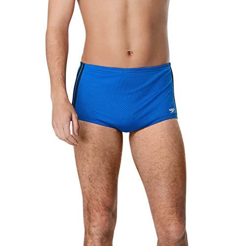 Speedo - Taje de baño de malla de poliéster, pierna recta, para hombre, zafiro/negro