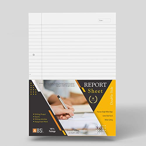 ABS Brand Project Paper - Two Side Ruled File Papers (Pack of 100 Sheets)