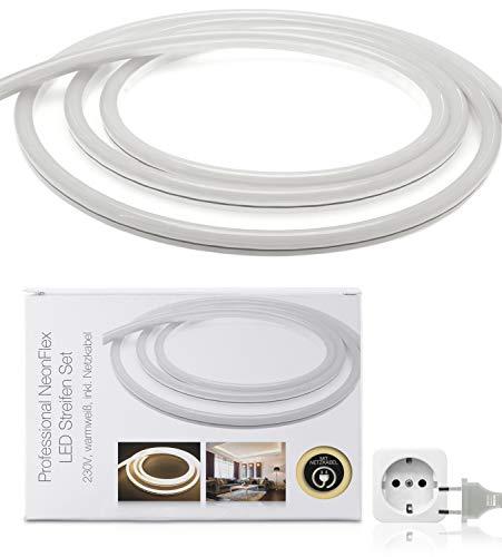 LED Universum 1 Meter Pro230 NeonFlex LED Streifen warmweiß mit Netzanschlusskabel, IP65, 230 V, 9 W/m, 280 lm/m, für Innen- und Außenbereich