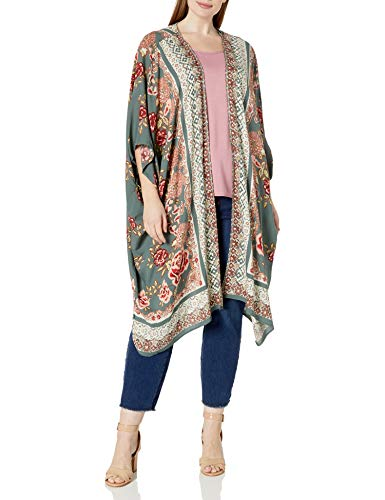 Angie Women's Plus Size Printed Kimono Duster Long Cardigan, Olive, 1X