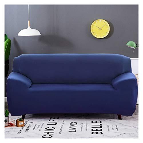 Cubierta de sofá elástica de Color sólido Spandex Moderno poliéster Esquina sofá sofá Silla Protector Sala de Estar 1/2/3/4 plazas (Color : Navy Blue, Specification : 3 Seater 190 230cm)