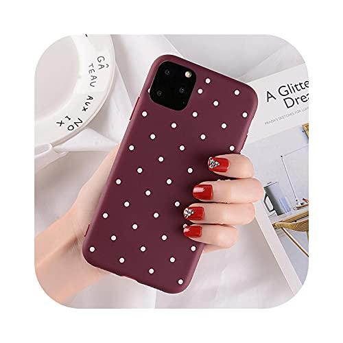 Wave Point Polka Dots teléfono caso para iphone 11 8 Plus X XS Max XR Dots casos para iphone 7 7Plus suave TPU silicona cubierta 5S-vino rojo para iphone 11 Pro