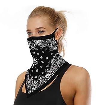 Face Mask Reusable Washable Cloth Bandanas Women Men Neck Gaiter Cover Ear Loops White Black