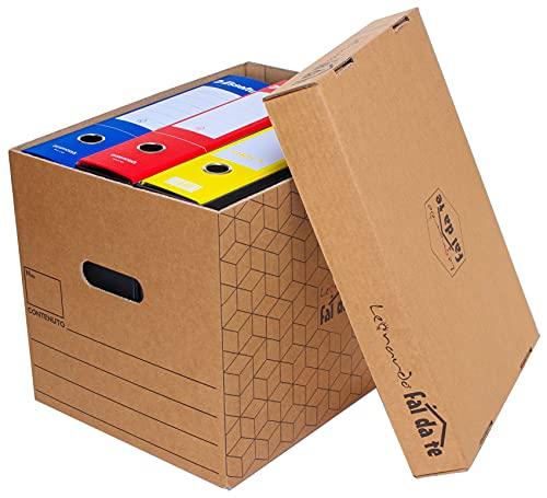 LEONARDO - 10 Scatole cartone trasloco con coperchio, 40x30x30 cm Cartoni imballaggio per spedizione, archiviazione. Scatola richiudibile, Scatoloni NO SCOTCH con maniglie laterali per il trasporto