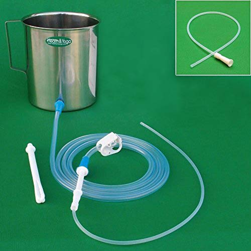 HealthAndYoga(TM) Stainless Steel Enema Kit with Complete Tubing - 2 Quart Container No Latex