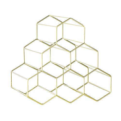 Baoniansoo Sechseckiges Weinregal im modernen Design, goldenes Wabenweinregal, modernes geometrisches Design, 6 Flaschen freistehendes Weinregal, geeignet für den Eintritt