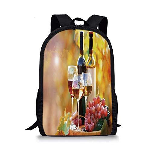 AOOEDM Backpack Wein Stilvolle Schultasche, leckerer Wein auf Holzfass auf Traubenplantage Landschaft Ernte Ländliches Wachstum Dekorativ für Jungen, 11 '' L x 5 '' B x 17 '' H.