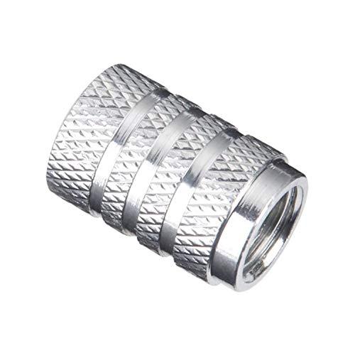 8X Leichte Sport-Radkappen für Auto, Motorrad, Fahrrad oder Skateboard, aus Strukturiertem Aluminium mit Dichtungsring. (Silber)
