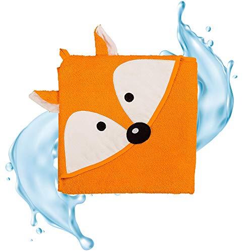 Smithy® Kinder-Kapuzenhandtuch aus 100% Baumwolle – Schadstofffrei und ÖkoTex zertifiziertes Babyhandtuch – orange mit Fuchs – Größe 100 cm x 100 cm