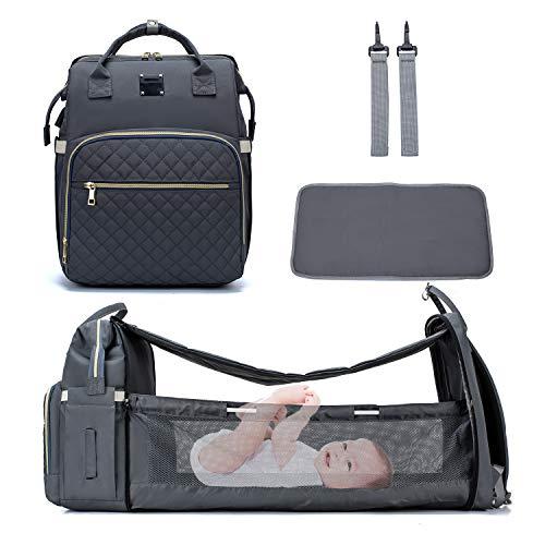 Zaino Mamma neonato Multifunzione - borsa per pannolini per bambini in tessuto Oxford di grande capacità con fasciatoio, tasche isolanti, Ganci di Passeggino - Grigio