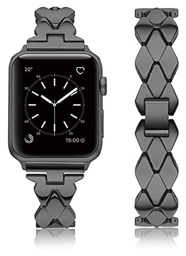 Youdert Bandas de metal compatibles con Apple Watch 38mm 40 mm 42mm 44mm correa de acero inoxidable de reemplazo de reemplazo banda deporte suave transpirable para iWatch Series 6 / SE / 5/4/3/2/1 par