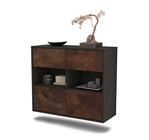 Dekati dressoir Richmond hangend (92x77x35cm) Corpus antraciet mat | Front roestig industrieel ontwerp | Push-to-Open
