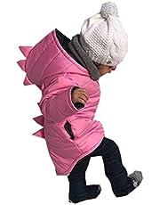 Chaqueta Bebé Niño con Capucha Abrigo Invierno Ligero con Diseño Animados Dinosaurio para Chicos 1-7 Años Ropa Invierno de Algodón con Cremallera para Esquí Traje de Invierno