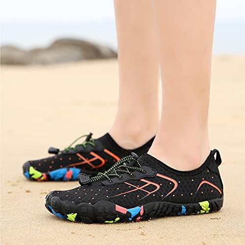 YINTE Zapatos De Agua para Hombres, para Mujer Snorkel Skets Barefoot Skin Skets, Suela De Goma De Neopreno Solas Aqua para La Playa Nadar Surf Yoga Ejercicio Black orange-35