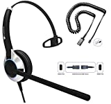 TruVoice HD-500 Deluxe Single Ear Headset with Noise Canceling Microphone & U10P Bottom Cable Works with Mitel, Nortel, Avaya Digital, Polycom VVX, Shoretel, Aastra, Digium + More