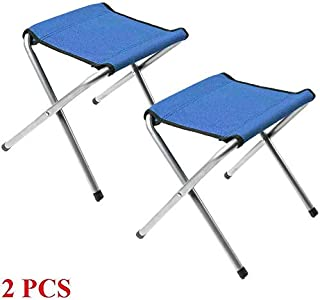 ARB Market 2Pcs Portable Outdoor Folding Chairs Fishing Beach Stool Hiking Camping Seat, Portable Foldable Aluminum Camping Travel Chair Fishing Stool Backpacking Seat Stool (Blue)