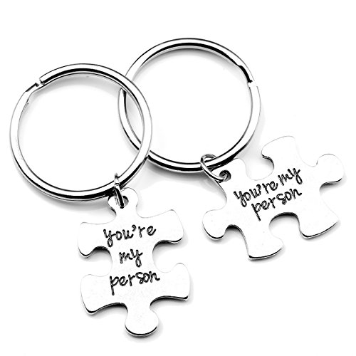 JOVIVI 2pcs You're My Person Puzzle Alloy Keychain Jewelry Set - Valentines Day Best Friend Gifts