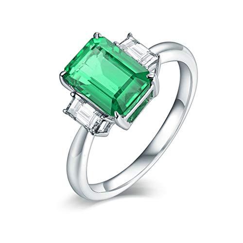 Beydodo Anillos de Boda Mujer,Anillo Oro Blanco Mujer 18 Kilates Plata Verde Rectángulo Esmeralda Verde 1.6ct Diamante 0.24ct