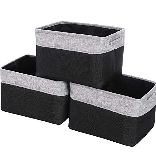 WEHUSE Cestas de Almacenamiento Grandes para estantes, 15.8 Pulgadas de Largo x 11.81 Pulgadas de Ancho x 9.8 Pulgadas de Alto, para Organizador de Armario, Juego de 3