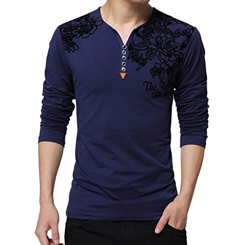 KEERADS T-Shirt Chemise-Hommes, Printemps Mode Casual Impression Manches Longues Bouton T-Shirt Tops Blouse (FR-62/CN-L5,Marine)