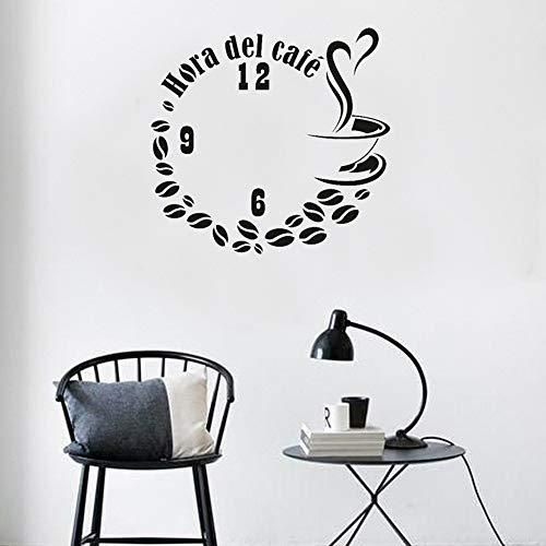 L22LW Wandtattoos Tasse Kaffeebohnen Uhr Wandaufkleber Kreative Wohnkultur Schlafzimmer Wohnzimmer Aufkleber Wandbild Vinyl Aufkleber An Der Wand