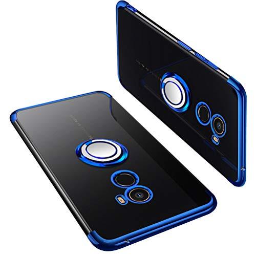 UBERANT Capa Xiaomi Mi Mix 2, capa protetora ultrafina de poliuretano termoplástico macio transparente com placa de metal magnética antiderrapante à prova de choque para Xiaomi Mi Mix 2 6 polegadas azul