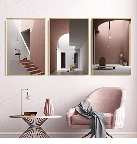 JHCT Leinwanddrucke Modern Pink Obsession Stairs Atriums Interieur Leinwandmalerei Poster und Druck Wandkunst Bild Poster Wohnzimmer Home Decor-50X70Cmx3 Pcs Rahmenlos