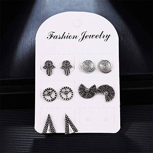Simplicidad Elegante 5 Pares/Set Vintage Tribal Silver Color Hand Fan Round Triangle Shape Stud Earring Set para Mujeres Metal Tallado Aretes, N-J, E658